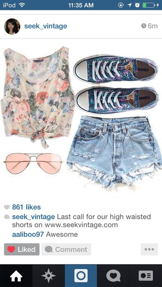 fashion shorts roses floral denim shorts sunglasses crop tops converse sneakers top summer outfits summer top accessories jeans clothes