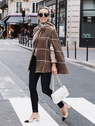 coat cape checkered pants black pants bag white bag chanel chanel bag chanel shoes chanel slingbacks slingbacks scarf tumblr french girl style