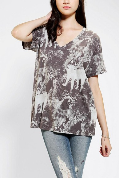 deep v neck t-shirt truley madly deeply pocket tee animals oversize fit