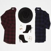 dress,BB Dakota,plaid,red dress,red,burgundy,shoes,hat