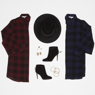 dress bb dakota plaid red dress red burgundy shoes hat