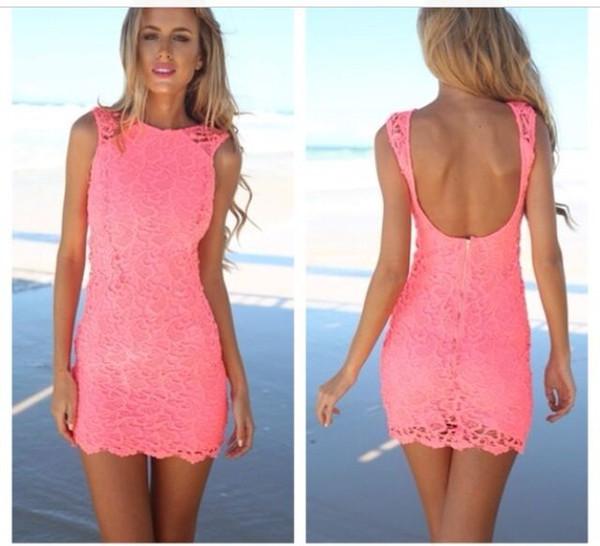 dress pink dress summer dress lace dress