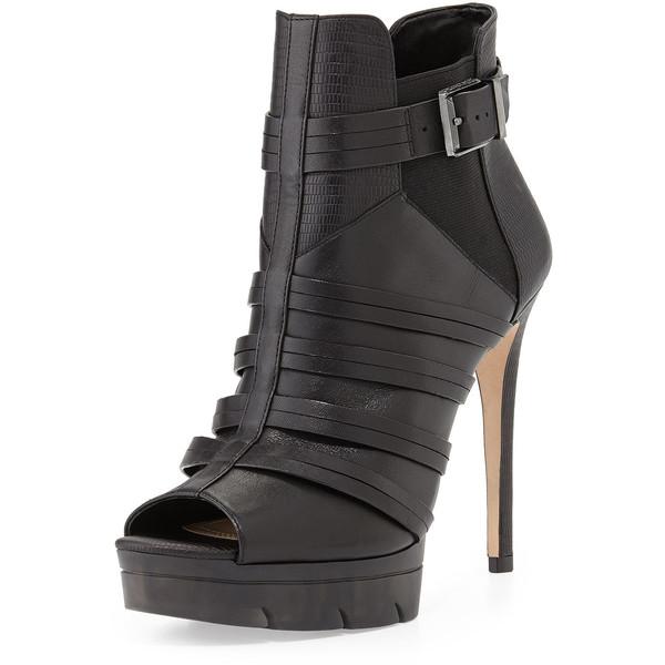 BCBGMAXAZRIA Hesh Tumbled Leather Peep-Toe Bootie, Black