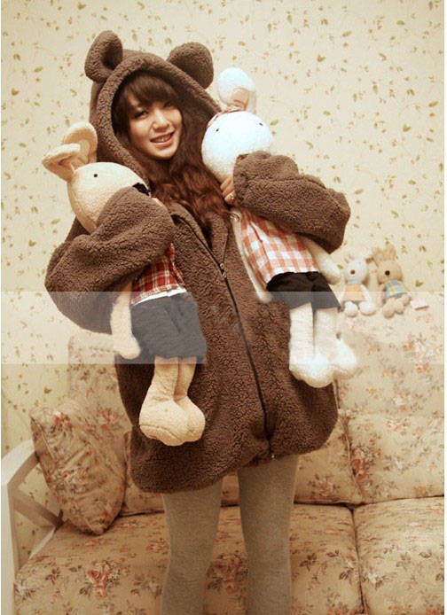 2013 new cute little bear with ears and tail cartoon plush velvet hooded sweater coat