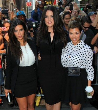 jacket kim kardashian kourtney kardashian khloe kardashian white top black skirt dress blouse bag