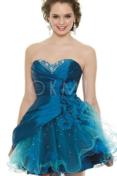 dress blue prom ruffle tulle skirt homecoming short dress