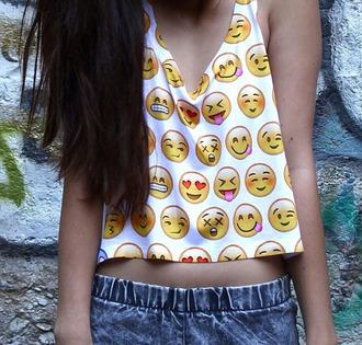 shirt shorts emoji print perf summer tank top cute top