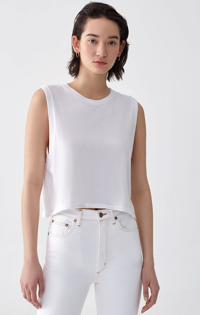 Cropped Muscle Tee in White