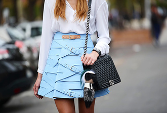 bag bag accessories fur keychain accessory accessories skirt mini skirt blue shirt teal shirt white shirt black bag chanel chanel boy chanel bag streetstyle fendi pastel blue pastel skirt buckles texture