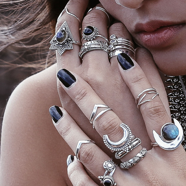 jewels boho bohemian moon crescent moon hippie boho rings knuckle ring labradorite ring sterling silver rings gypsy rings gypsy gypset grunge