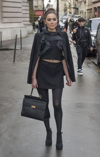 bag mini dress purse jacket olivia culpo streetstyle fashion week 2016 paris fashion week 2016 opaque tights