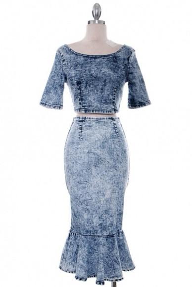skirt two-piece fashion top set denim shirt denim acid wash