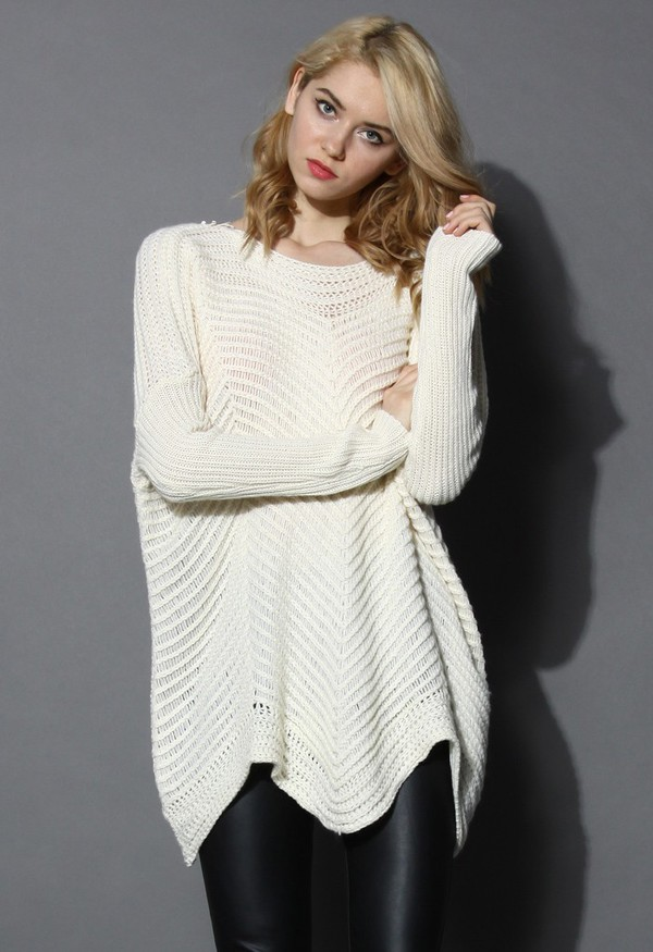 chicwish wavy crochet insert oversized sweater