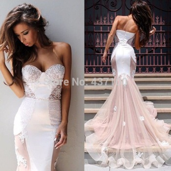 Vestidos formatura sexy sweetheart applique lace white nude mermaid prom dress 2015 abendkleider long evening party dress