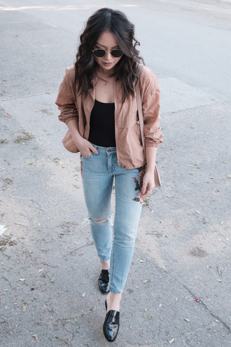 jacket tumblr pink jacket top black top denim jeans blue jeans embroidered embroidered jeans shoes black shoes loafers sunglasses