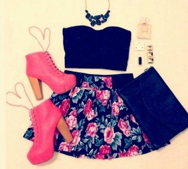 neon pink skirt top jewels