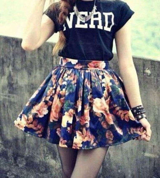 skirt beige skirt shirt flowers flower skater skirt blue skirt a line skirt a-line nerd girly hipster