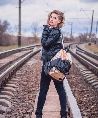 bag backpack rucksack urbanbackpack urbanbag urbanrucksack stylishbackpack stylishbag stylishrucksack leather bag streetstyle streetwear rose gold black