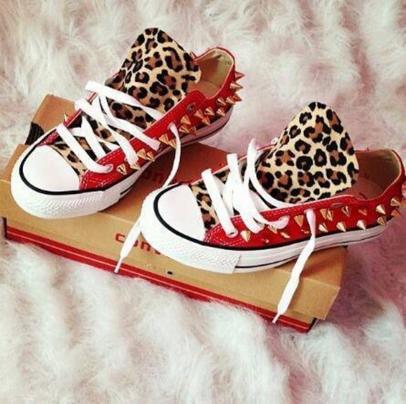 red shoes shoes all star leopard print red leopard studs spikes black whore converse gold