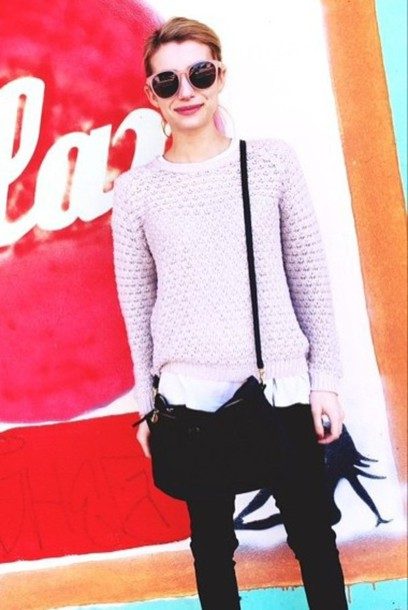 sweater emma roberts fall outfits lilac