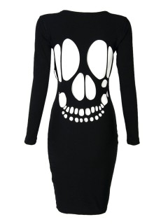 Black laser skull cut out back bodycon dress