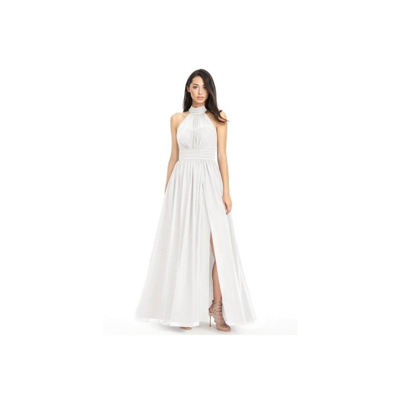 Ivory Azazie Iman - Floor Length Chiffon Halter Illusion Dress - Charming Bridesmaids Store