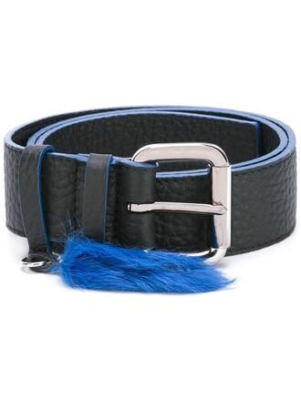 fur women belt leather black