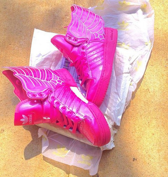 shoes pink neon sneakers pink shoes neon pink adidas wings adidas adidas shoes adidas sneakers jeremy scott jeremy scott wings jeremy scott shoes white wings wing shoes pink and white 'pink sneakers dope