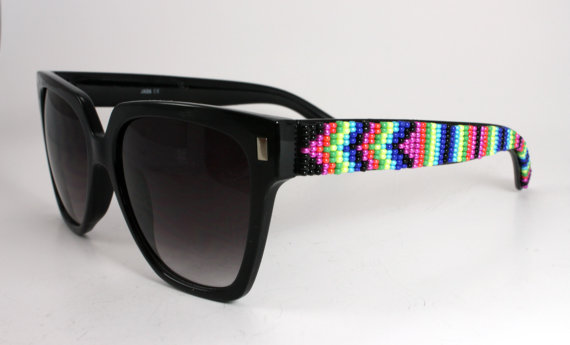Beaded sunglasses neon chevron by brownbeadednet on etsy