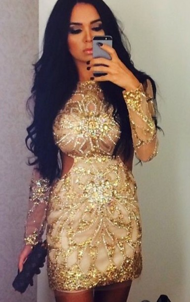 Dress: sequin dress, gold sequins, gold, gold dress, cut-out dress ...