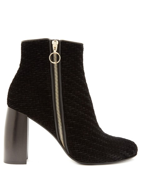 Stella McCartney heel velvet ankle boots ankle boots velvet black shoes