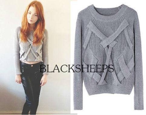 Crossed Strips Grey Jumper · Blacksheeps! · Online Store Powered by Storenvy