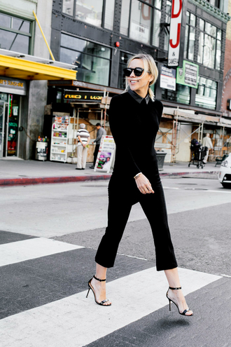 damsel in dior blogger classy cropped pants black sweater sweater shoes bag pants kick flare kick flare pants