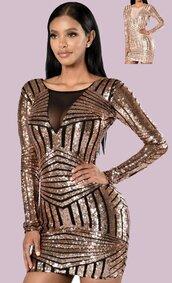 dress,sequin dress,gold,gold sequins,gold sequins dress,long sleeves,lon sleeve dress,mini dress,bodycon dress,sexy dress,party dress,sexy party dresses,mesh,mesh dress,see through dress,sheer,deep v,deep v dress,plunge v neck,plunge neckline,plunge dress,date dress,club dress,clubwear,cool,hot,cute,style,moraki,geometric,tumblr girl,tumblr outfit,tumblr dress