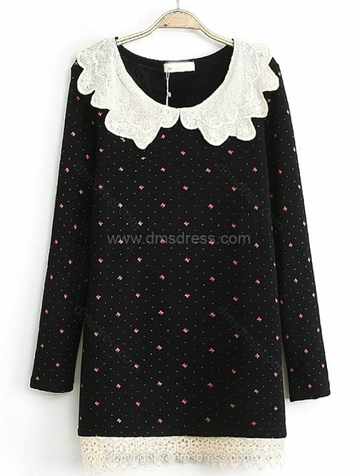 Black Contrast Lace Collar Bow Print Dress for HPL - Dmsdress.com