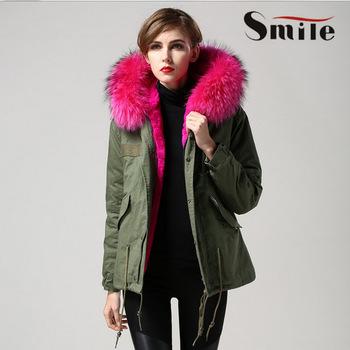 Womens Famous Brand Genuine Fox Fur Lining Hood Parka Jacket Woman ...