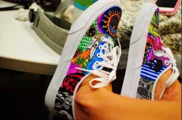shoes vans vans vans printed vans vans neon vans