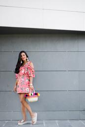 crimenes de la moda,blogger,dress,jewels,shoes,bag,floral dress,basket bag,flatform sandals,summer outfits,mini dress