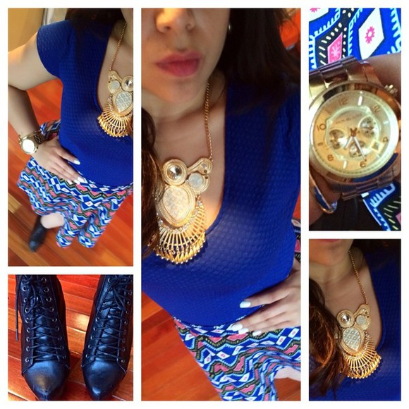 bracelets blouse skaterskirt pink, blue, print, flowers, crop top, crop, tops, black booties watch, gold, elegant, amazing, michael, kors