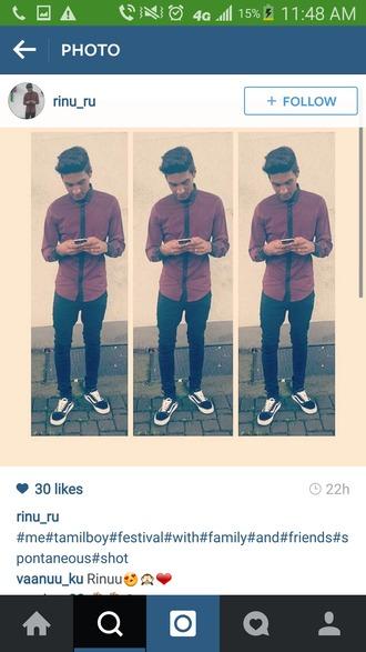 shirt burgundy button up black trim mens shirt