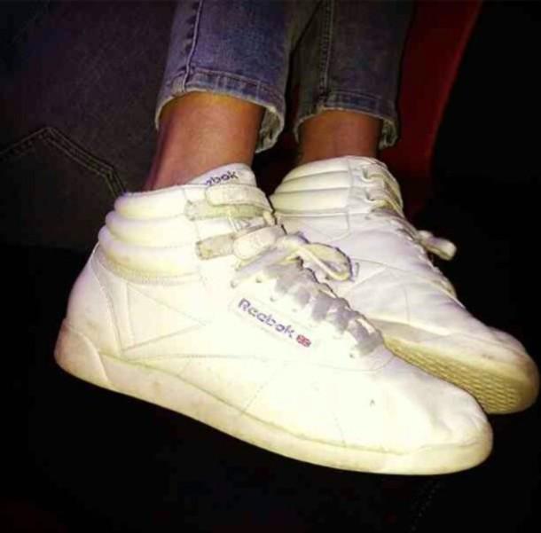 shoes white sneakers high tops reeboks old school
