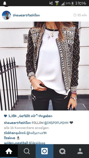 jacket design jacket noir must pattern jewelled amazing glitter stones aztec black jacket fashion love gorgeous long sleeves blazer coat brodery gold style grey sweater studs back white black brown