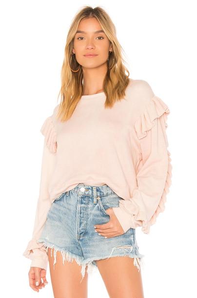 LoveShackFancy sweater ruffle sweater ruffle pink