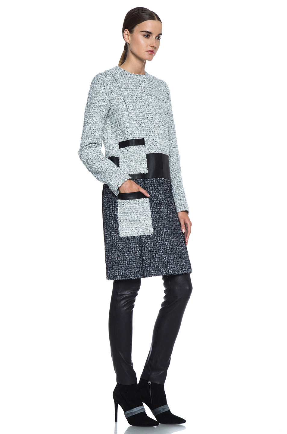 Proenza Schouler|Tweed Collarless Coat in Ecru & Black