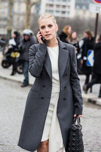 coat mélanie laurent french actress streetstyle celebrity style celebrity dress white dress grey coat