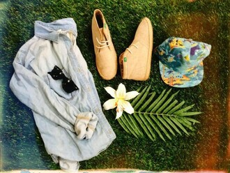 shoes flowers shirt hat bucket hat rayban glasses