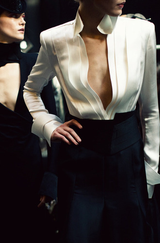 blouse black white business business sexy clothes
