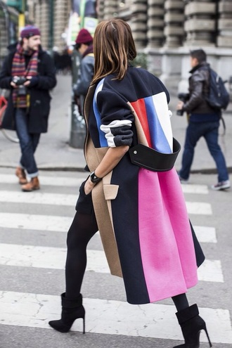 coat long coat cool coats and jackets black black coat multi colored pink white blue