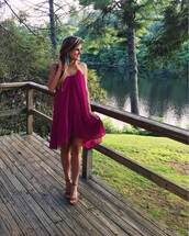 brighton the day blog | dallas fashion blog,blogger,dress,jewels,shoes,burgundy,burgundy dress,mini dress,wedges,sandal heels,summer dress,violet dress,party dress,wedding guest,tassel,earrings,statement earrings,sandals,high heel sandals,brown sandals,halter dress