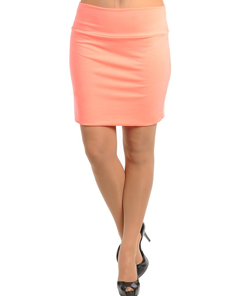 Neon Orange Coral Bodycon Knit Pencil Skirt Plus 1x 2X 3X Body Con | eBay